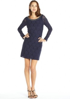 Laundry by Shelli Segal dark blue stretch lace long sleeve beaded neck dress