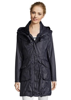 Laundry by Shelli Segal dark navy waxed cotton hooded anorak