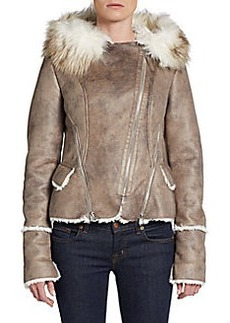 Laundry by Shelli Segal Distressed Faux Fur-Trimmed Jacket