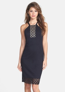 Laundry by Shelli Segal Dot Lace Trim Crepe Sheath Dress
