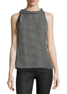 Laundry by Shelli Segal Dot-Print Sleeveless Blouse, Black/Multi