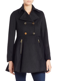 LAUNDRY BY SHELLI SEGAL Double-Breasted Fit-and-Flare Peacoat