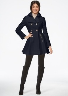 Laundry by Shelli Segal Petite Double-Breasted Flared Peacoat
