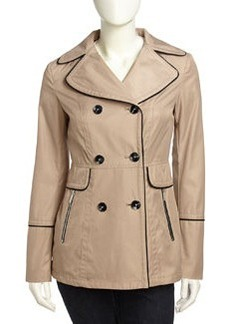 Laundry by Shelli Segal Double-Breasted Pipe-Trimmed Jacket, Mocha/Black