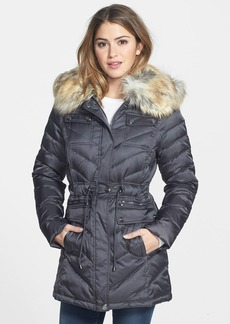 Laundry by Shelli Segal Down & Feather Fill Anorak with Faux Fur Trim