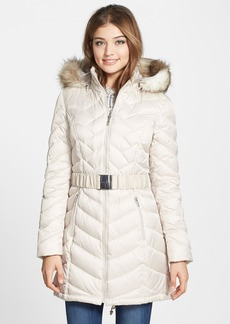 Laundry by Shelli Segal Down & Feather Fill Coat with Faux Fur Trim