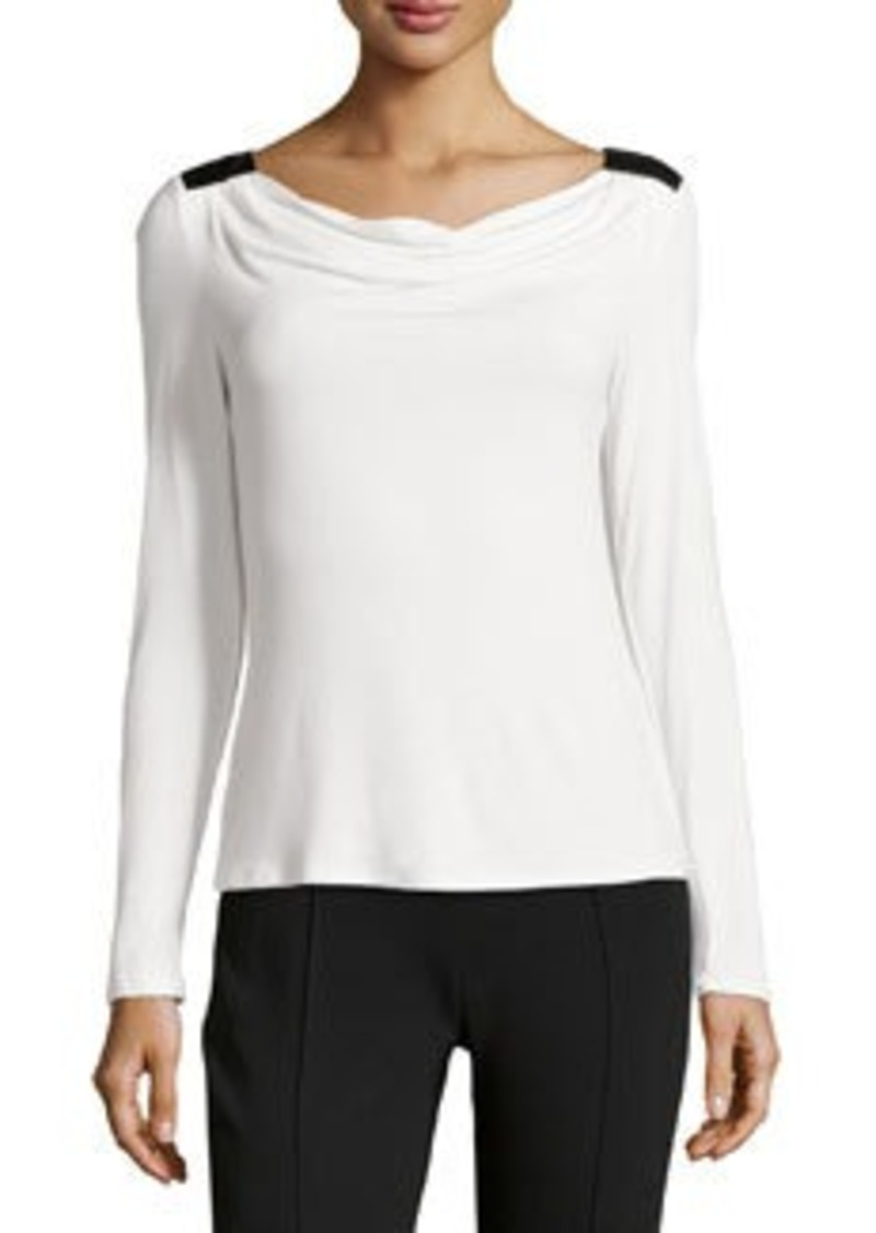 Laundry by Shelli Segal Drape-Back Jersey Top, Warm White