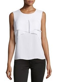 Laundry by Shelli Segal Drape-Front Sleeveless Blouse, Optic White