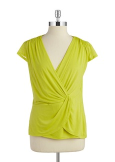 LAUNDRY BY SHELLI SEGAL Draped Cap-Sleeve Top