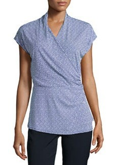 Laundry by Shelli Segal Draped Crossover Side-Pleated Top, Blue Beret/Multi`