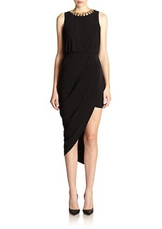 Laundry by Shelli Segal Draped Jersey Chain-Neck Dress