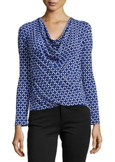 Laundry by Shelli Segal Draped-Neck Long-Sleeve Top
