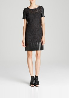 Laundry by Shelli Segal Dress - Short Sleeve Faux Leather & Lace Shift