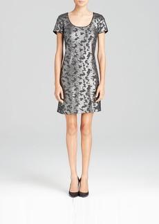 Laundry by Shelli Segal Dress - Short Sleeve Novelty Knit Sequin
