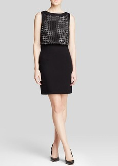 Laundry by Shelli Segal Dress - Sleeveless Laser-Cut Bodice Ponte