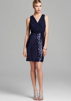 Laundry by Shelli Segal Dress - Sleeveless V Neck Blouson & Sequin Skirt