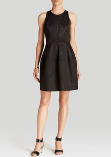 Laundry by Shelli Segal Dress - Sleeveless Zip Front Embossed Scuba Fit and Flare