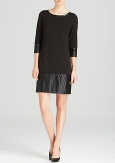 Laundry by Shelli Segal Dress - Three Quarter Sleeve Ponte & Quilted Faux Leather Shift
