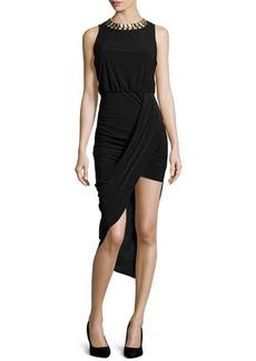 Laundry by Shelli Segal Embellished Asymmetric-Hem Dress, Black
