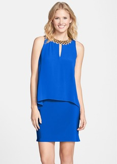 Laundry by Shelli Segal Embellished Chiffon Overlay Jersey Dress