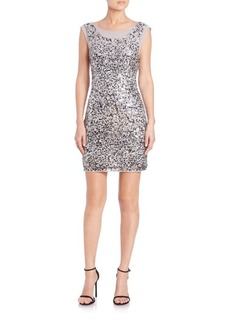 Laundry by Shelli Segal Embellished Cowl-Back Dress