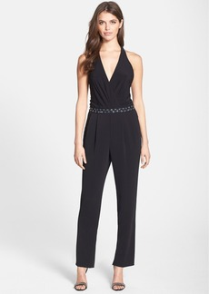 Laundry by Shelli Segal Embellished Crepe Jumpsuit