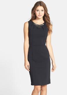 Laundry by Shelli Segal Embellished Crepe Sheath Dress
