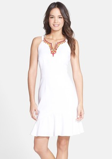 Laundry by Shelli Segal Embellished Crepe Trumpet Hem Dress