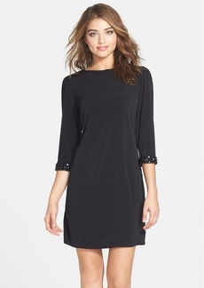 Laundry by Shelli Segal Embellished Cuff Jersey Shift Dress (Regular & Petite)