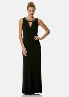 Laundry by Shelli Segal Embellished Cutout Jersey Gown