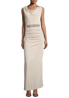 Laundry by Shelli Segal Embellished Drape-Back Sleeveless Gown