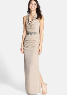 Laundry by Shelli Segal Embellished Drape Glitter Column Gown
