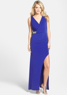 Laundry by Shelli Segal Embellished Faux Wrap Jersey Gown