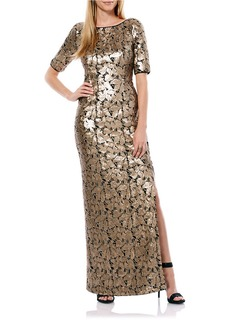 LAUNDRY BY SHELLI SEGAL Embellished Foiled Gown