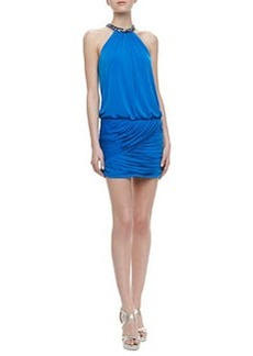 Laundry by Shelli Segal Embellished Halter Shirred Skirt Dress, Caribbean Blue