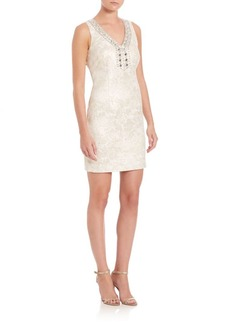 Laundry by Shelli Segal Embellished Jacquard Sheath Dress