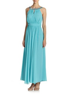 Laundry by Shelli Segal Embellished Jewelneck Gown