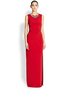 Laundry by Shelli Segal Embellished Matte Jersey Gown
