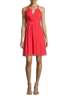Laundry by Shelli Segal Embellished-Neck Pleated-Bodice Dress, High Risk Red