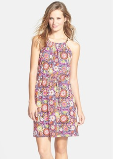 Laundry by Shelli Segal Embellished Neck Print Jersey Dress