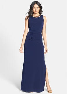 Laundry by Shelli Segal Embellished Neck Ruched Jersey Gown