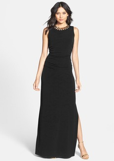 Laundry by Shelli Segal Embellished Neck Ruched Jersey Gown (Regular & Petite)