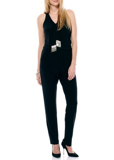 Laundry by Shelli Segal Embellished Neck Tie Jersey Jumpsuit