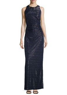 Laundry by Shelli Segal Embellished Neckline Foil Gown, Dark Midnight