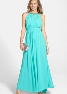 Laundry by Shelli Segal Embellished Open Back Chiffon Gown