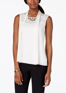 Laundry by Shelli Segal Embellished Pleat-Front Blouse
