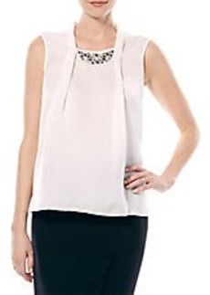 LAUNDRY BY SHELLI SEGAL Embellished Pleated-Front Top
