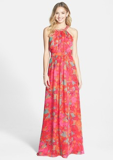 Laundry by Shelli Segal Embellished Print Chiffon Gown