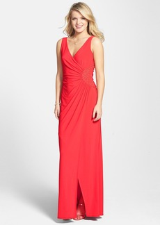 Laundry by Shelli Segal Embellished Ruched Jersey Gown