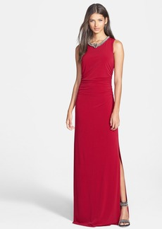 Laundry by Shelli Segal Embellished Shirred Jersey Gown